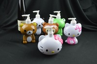 Free shipping SALE hand wash dispenser cartoon bottle kitty panda monkey frog chunli character hand soap dispenser refill bottle