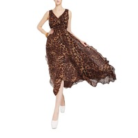 Vintage Women Sexy Summer Leopard Chiffon Long Evening Party Dress