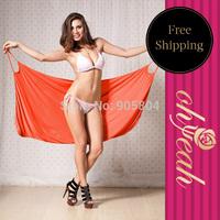 Free Shipping New Design Hot 2014 Solid Orange With 100% Polyester Women Beach Dress Bikini Cover Up Swimwear B0799