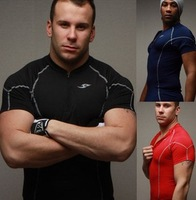 Zipper T-shirt sports tights fitness training speed drying clothes in red, black, navy M, L, XL, XXL
