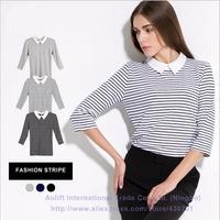 2014 New brand Women cotton Tops Three Quarter Sleeve Black White pattern striped T shirts Plus Size Woman Clothes