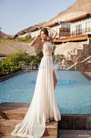 2014 New Style Custom Made High Neck vestido de noiva Off The Shoulder Sexy Court Train Appliqued Chiffon A-Line Wedding Dresses