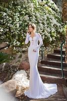 2014 Luxury Elegant Long Sleeve Wedding Dresses Sweetheart Appliqued Satin Mermaid Court Train vestido de noiva
