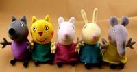 New item 2014 peppa pig friends plush toys 5pcs/set Animal Dog / cat / sheep / rabbit / elephant doll gift