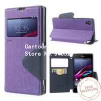 Free shipping +Roar Korea Fancy Diary Stand Leather Cover for Sony Xperia Z1 Honami L39h C6902 w/ View Window