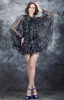 2014 fashion brand summer music symbol dress Chiffon black cloak  Dresses best quality Women clothing Free Shipping 2pcs/set