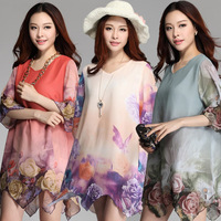 3XL~6XL!! Promotion Plus Big Size Women Clothing Dress New Summer 2014 Irregular Rose Chiffon Print Flowers Woman Dresses