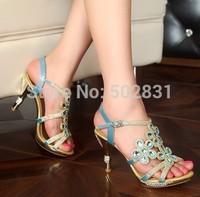 2014 women's shoes luxury rhinestone sandals female flower platform sandals gold sexy high-heeled shoes  S622