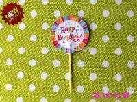Free shipping 100 pc / pack happy birthday cake insert card cake accessory birthday cake decorations