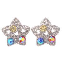 Zinc Alloy Deshow Fashion AB Crystal Rhinestone Star Earrings