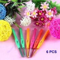 B39Multicolor Plastic Handle Aluminum Crochet Hooks Knit Needles Weave CraftFree Shipping wholesale/retail