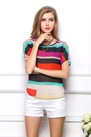 New 2014 Women Blouse Fashion Brand Tops for women Elegant Strip print Women's Shirt