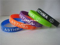 Medical Alert! ASTHMA Awareness Wristband, Debossed Silicon Bracelet, Adult, 5Colours, Promotion Gift, 100pcs/Lot, Free Shipping