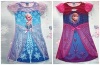 Romantic Foreign Trade Children's Clothing Cartoon  Frozen Elsa&Anna Girl Dresses
