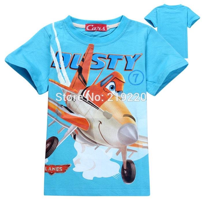 Popular cartoon Plane t shirt children schoolboy kids t shirt 100% cotton well quality children boys tees t shirt free shipping(China (Mainland))