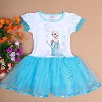 Free Shipping 5pcs/lot 2014 the Latest Cartoon Frozen Snow Romance Elsa & Anna Princess Dresses,Children best love dress