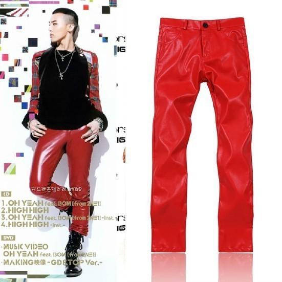 2014 Boys Hot Red Motorcycle Faux PU Leather Pants Men Drop Crotch Harem Sweatpants Long Slim Fit Dance Bandana Trousers Jogger(China (Mainland))