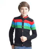Free shipping 2014 spring kids knitted cardigan boys knitting outerwear sweater coat  thick children sweaters