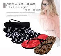 2014 New Women Europe US Fashion Stripe Leopard Zebra Dot summer Flip flops Beach Slippers Home sandals size 6, 7, 8, 9