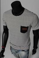 Free Shipping 2014 New Arrival Men's Short Sleeve T shirts, Vintage Naval Stripe O-neck Men's T shirts#H129