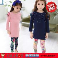 2014  Spring Girls Shirt LongT -Shirt Children 's Clothes