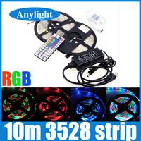 10M 3528 led strip light 2*5M 60leds/m 12v smd strip lighting +44 key ir remote controller + dc12v 5A Power transformer WLED57