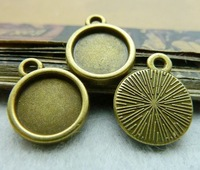 Pendant trays round bezel cup cabochon mountings, 10mm, antique bronze, wholesale