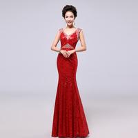 evening dress bridal 2014 Wine red fish tail paillette long design 8