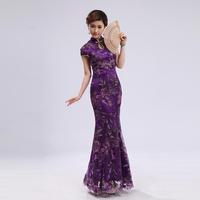 Fashion cheongsam purple long fish tail design lace cheongsam toast the bride married cheongsam vintage sexy 8