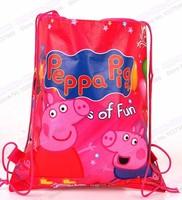 Free shipping  PEPPA PIG Cartoon Drawstring Backpack Bag,Children Kids Bag schoolbag,baby party gift QH6017