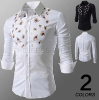 2014 spring new personalized Man's  long-sleeved shirt printing M-XXL Black/White ZL669