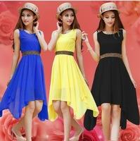 7 colors hot sale summer elegant women's dresses pleated chiffon dress casual paillette shoulder slim sleeveless vest dress