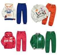 Brand Cotton 2015 New Girls Clothing Set Boys sweater+ pants outerwear coat Jacket 100% Cotton Hot  Kids sports Children clothes