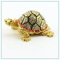 populor fashion tortoise metal jewerly box  wholesales free shipping