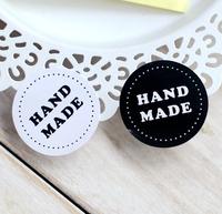 Black and white circle hand made sealing paste Self adhesive stickers, 400 pcs/lot
