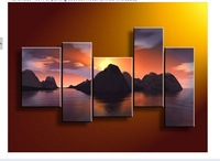 Free shipping The sunset lake mountains Landscape Art paintings Oil Painting canvas 5pcs/set(No framed)
