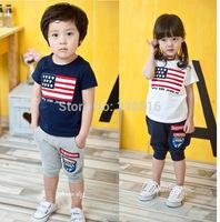 On children's clothing wholesale 2014 summer new models Children Set Flag logo sports suit a generation of fat children TZ26A03