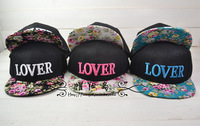 Free shipping han edition of the new flowers LOVER love three-dimensional embroidery cloth hip-hop dance hat