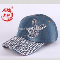 Fashion Women's Rivets rhinestone rabbit baseball cap jeans hats for women girls hot wholesale hip hop caps cap