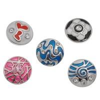 10PCs Snap Buttons Rhinestone Fit Snap Bracelets Silver Tone Mixed K01389