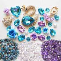 DIY 3D Blue Crystal Swan Bling Bling Alloy Cabochons DIY Phone Case Deco Kits