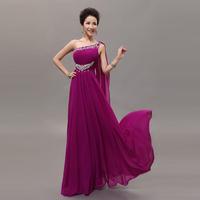 party formal dress female 2014 bridal evening dress long design one shoulder plus size  purple