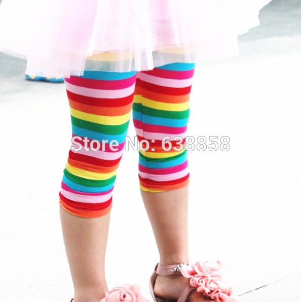 Children baby kids girls Capri pants children baby girl leggings pants rainbow colors girls pants 2-6 years old free shipping(China (Mainland))