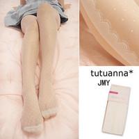 L059 stockings lourie sidepiece eyelash lace decoration ivory polka dot stockings female
