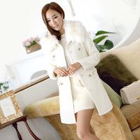 Korean long-sleeved Furs Woollen Trench Coat 2014 new women winter Long jackets Slim lapel Double-breasted Outerwear