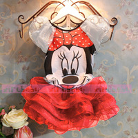 New 2014 Children Kids Girls Minnie Dress For 2-9 Years Girls Summer Clothing Set Girls Dresses