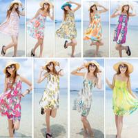 2014 beach dress bohemia print one-piece dress mopping the floor dress full halter-neck tube top plus size summer female