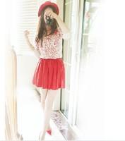 Fashion shower2014 long-sleeve lace spaghetti strap basic shirt leather skirt casual combination set