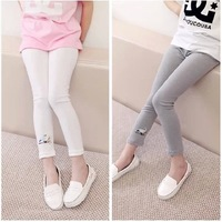 Children's clothing 2014 spring female child legging child embroidered skinny pants trousers baby ankle length trousers