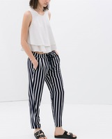 European and American fashion big new spring and summer 2014 women's casual trousers elastic vertical stripes pants # 4049